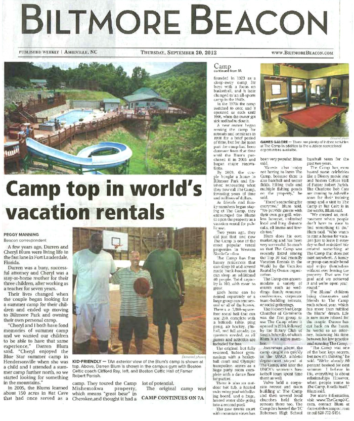 Camp top in world's vacation rentals - Biltmore Beacon